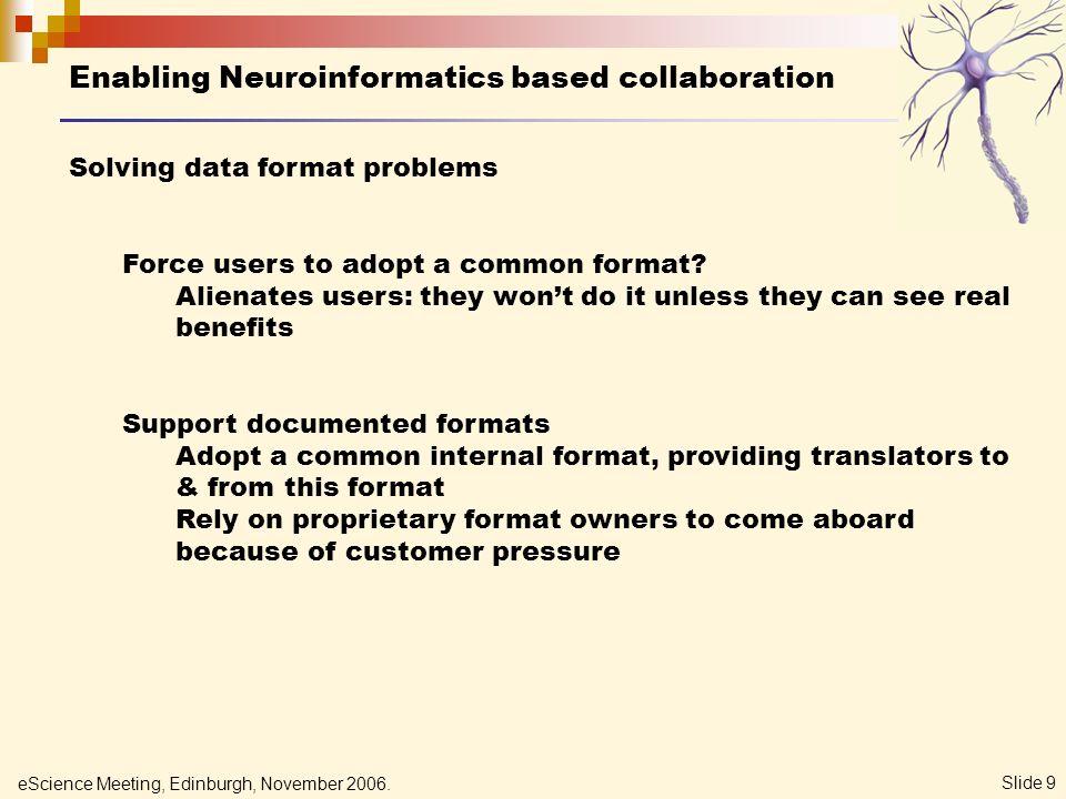 eScience Meeting, Edinburgh, November 2006. Slide 20 CARMEN Active Information Repository