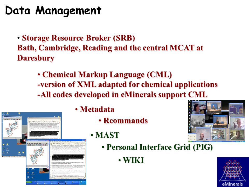 Storage Resource Broker (SRB) Bath, Cambridge, Reading and the central MCAT at Daresbury Chemical Markup Language (CML) Chemical Markup Language (CML) -version of XML adapted for chemical applications -All codes developed in eMinerals support CML Personal Interface Grid (PIG) Personal Interface Grid (PIG) MAST MAST Data Management WIKI WIKI Rcommands Rcommands Metadata Metadata