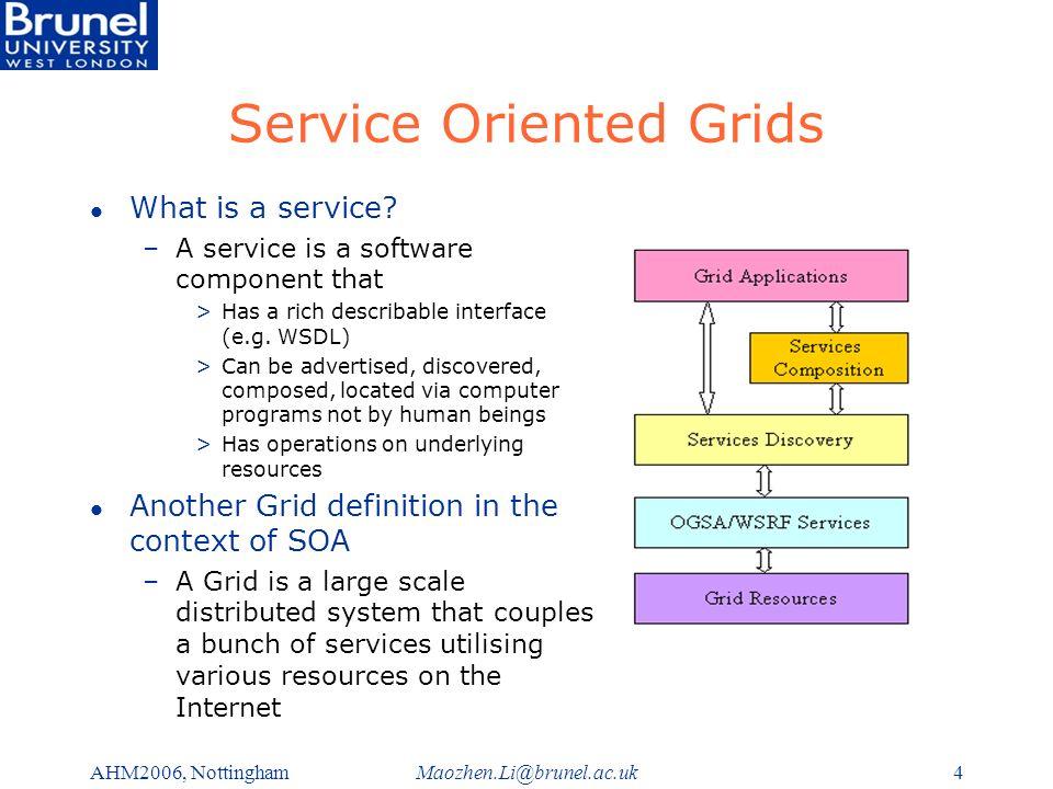 Maozhen.Li@brunel.ac.ukAHM2006, Nottingham4 Service Oriented Grids l What is a service.