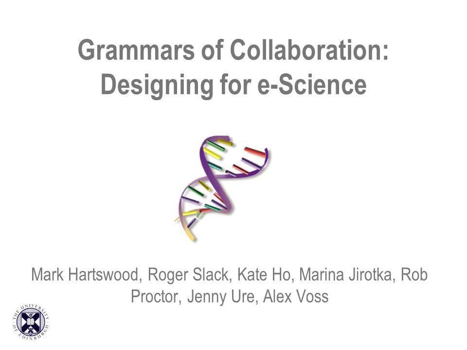 Grammars of Collaboration: Designing for e-Science Mark Hartswood, Roger Slack, Kate Ho, Marina Jirotka, Rob Proctor, Jenny Ure, Alex Voss