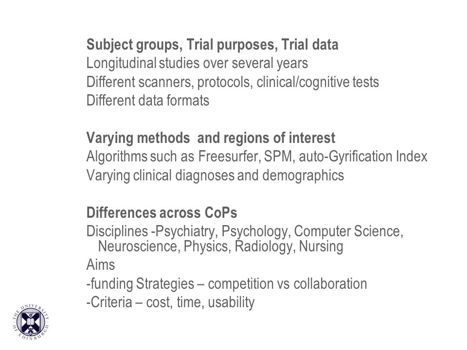 Subject groups, Trial purposes, Trial data Longitudinal studies over several years Different scanners, protocols, clinical/cognitive tests Different data formats Varying methods and regions of interest Algorithms such as Freesurfer, SPM, auto-Gyrification Index Varying clinical diagnoses and demographics Differences across CoPs Disciplines -Psychiatry, Psychology, Computer Science, Neuroscience, Physics, Radiology, Nursing Aims -funding Strategies – competition vs collaboration -Criteria – cost, time, usability