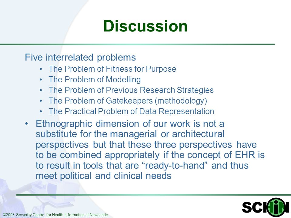 ©2003 Sowerby Centre for Health Informatics at Newcastle Discussion Five interrelated problems The Problem of Fitness for Purpose The Problem of Model