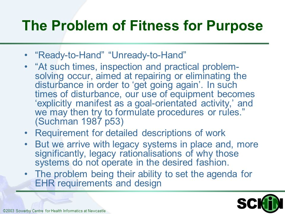 ©2003 Sowerby Centre for Health Informatics at Newcastle The Problem of Fitness for Purpose Ready-to-Hand Unready-to-Hand At such times, inspection an