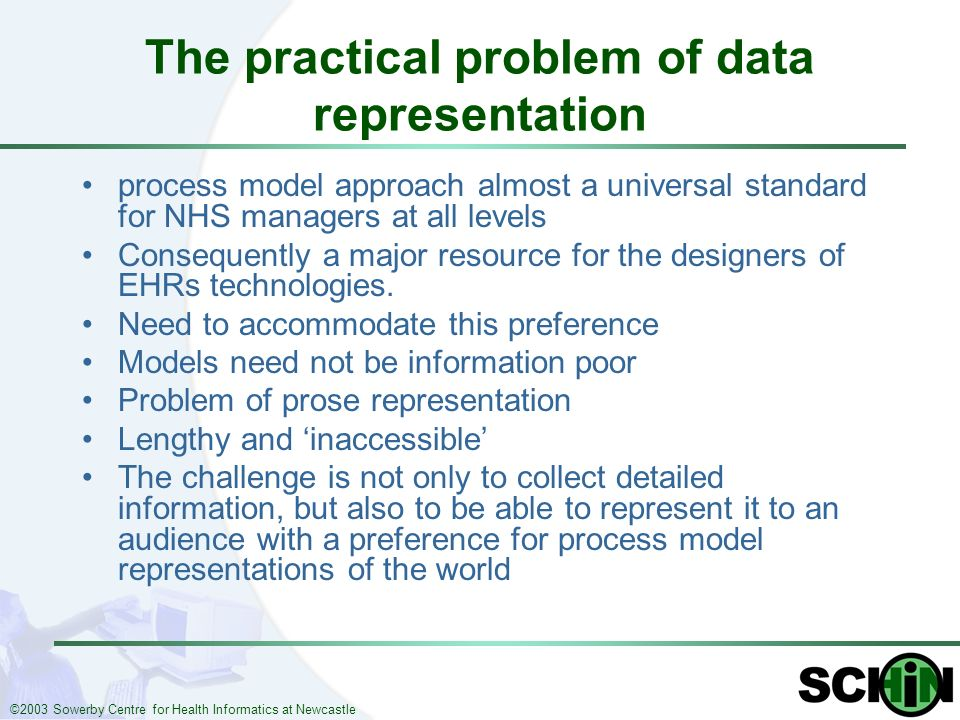 ©2003 Sowerby Centre for Health Informatics at Newcastle The practical problem of data representation process model approach almost a universal standard for NHS managers at all levels Consequently a major resource for the designers of EHRs technologies.