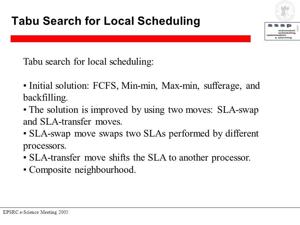 Tabu Search for Local Scheduling EPSRC e-Science Meeting 2005 Tabu search for local scheduling: Initial solution: FCFS, Min-min, Max-min, sufferage, a