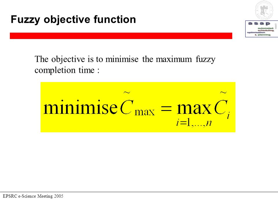 Fuzzy objective function EPSRC e-Science Meeting 2005 The objective is to minimise the maximum fuzzy completion time :