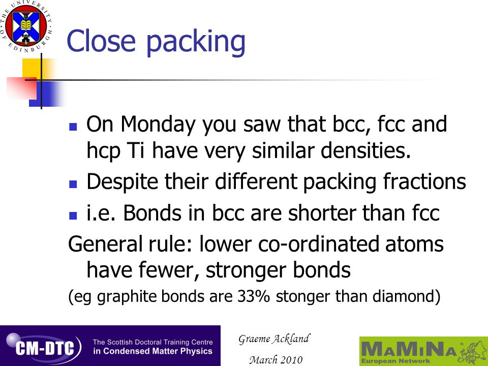 Graeme Ackland March 2010 Close packing On Monday you saw that bcc, fcc and hcp Ti have very similar densities.