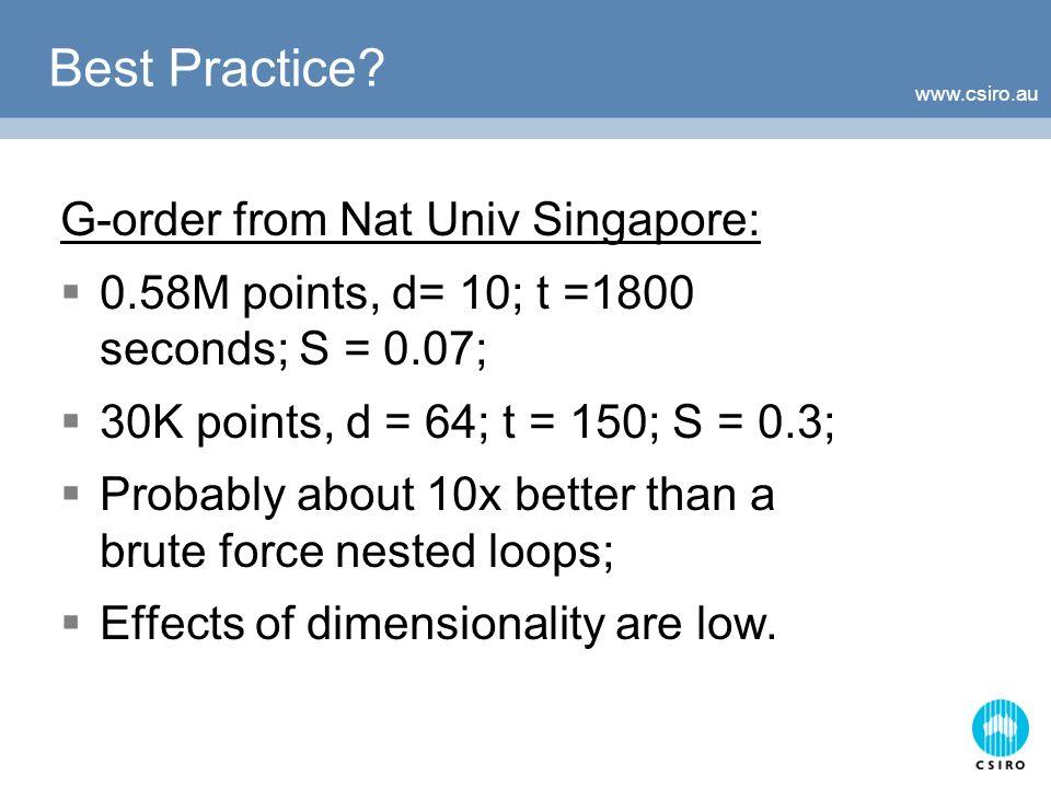 www.csiro.au Best Practice? G-order from Nat Univ Singapore: 0.58M points, d= 10; t =1800 seconds; S = 0.07; 30K points, d = 64; t = 150; S = 0.3; Pro