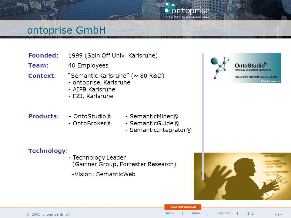 www.ontoprise.de © 2006 ontoprise GmbH Home - 2 - | Menu | Partner | End Technology: - Technology Leader (Gartner Group, Forrester Research) -Vision: SemanticWeb Founded:1999 (Spin Off Univ.