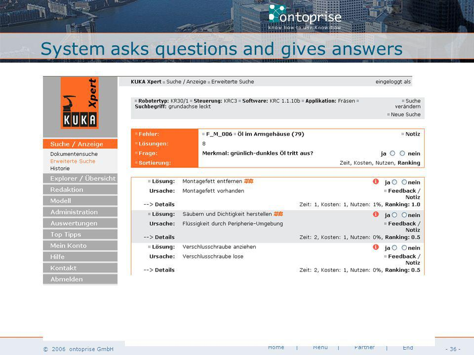 www.ontoprise.de © 2006 ontoprise GmbH Home - 36 - | Menu | Partner | End System asks questions and gives answers
