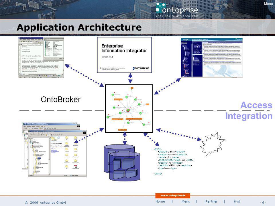 www.ontoprise.de © 2006 ontoprise GmbH Home - 47 - | Menu | Partner | End Pharma / Lifescience Target Identification BiologyChemistryProductionTrials Screening