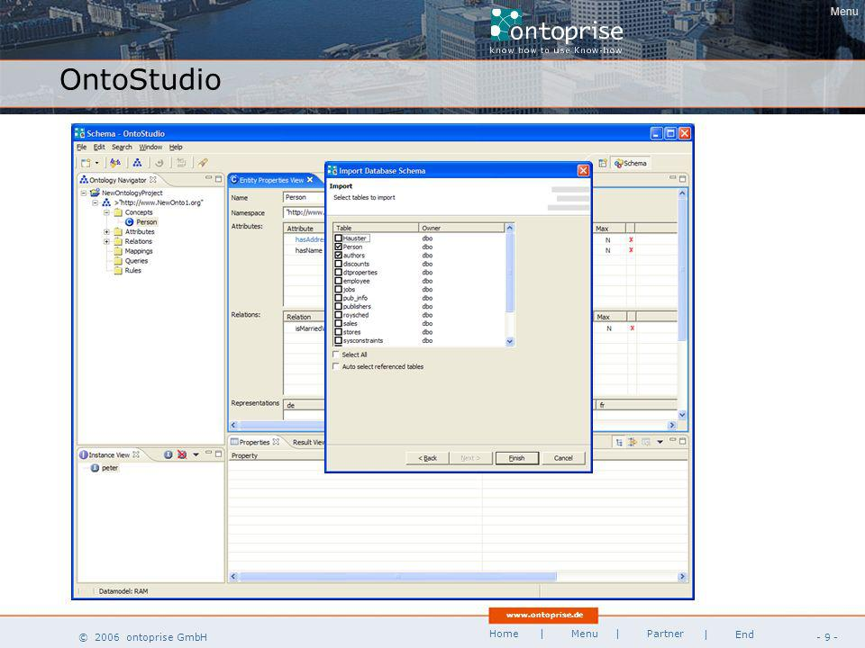 www.ontoprise.de © 2006 ontoprise GmbH Home - 20 - | Menu | Partner | End High Performance Inferencing OB 4.x compiled