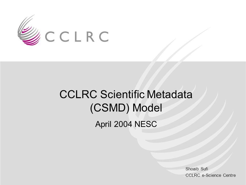 Shoaib Sufi CCLRC e-Science Centre