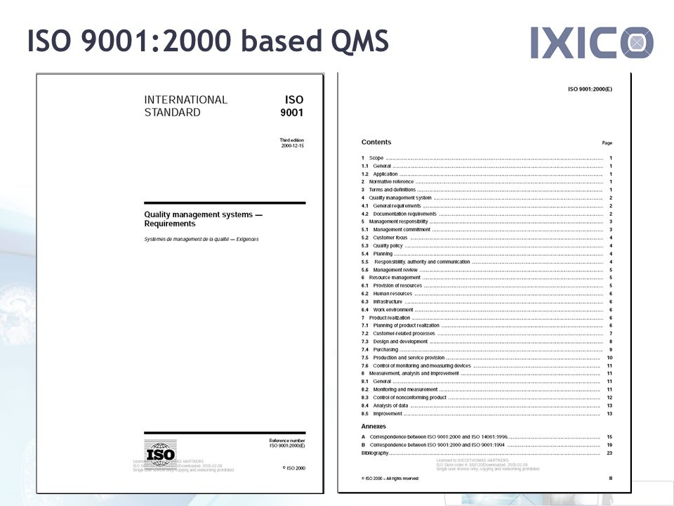 ISO 9001:2000 based QMS