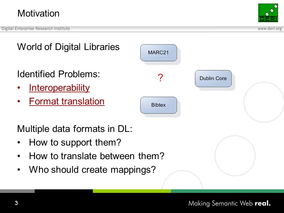 3 Motivation World of Digital Libraries Identified Problems: Interoperability Format translation Multiple data formats in DL: How to support them.