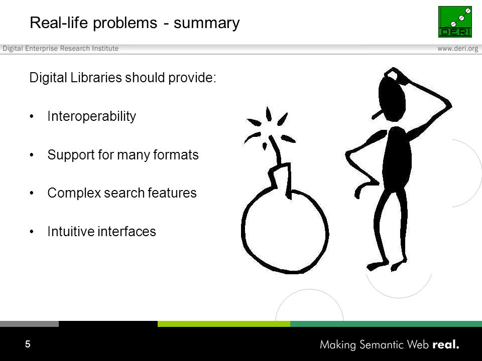5 Real-life problems - summary Digital Libraries should provide: Interoperability Support for many formats Complex search features Intuitive interfaces