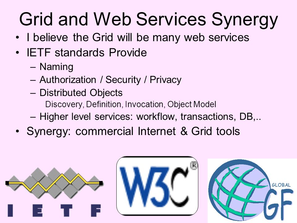 Grid and Web Services Synergy I believe the Grid will be many web services IETF standards Provide –Naming –Authorization / Security / Privacy –Distributed Objects Discovery, Definition, Invocation, Object Model –Higher level services: workflow, transactions, DB,..
