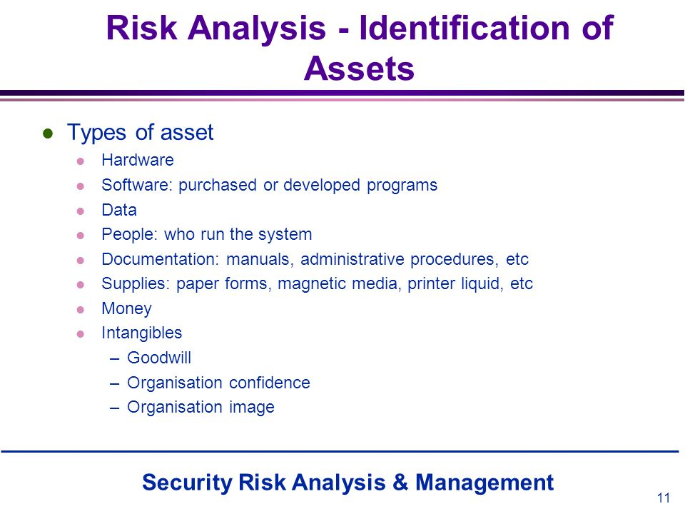 Security Risk Analysis & Management 11 Risk Analysis - Identification of Assets l Types of asset l Hardware l Software: purchased or developed program