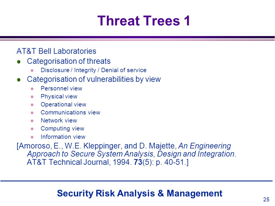 Security Risk Analysis & Management 25 Threat Trees 1 AT&T Bell Laboratories l Categorisation of threats l Disclosure / Integrity / Denial of service