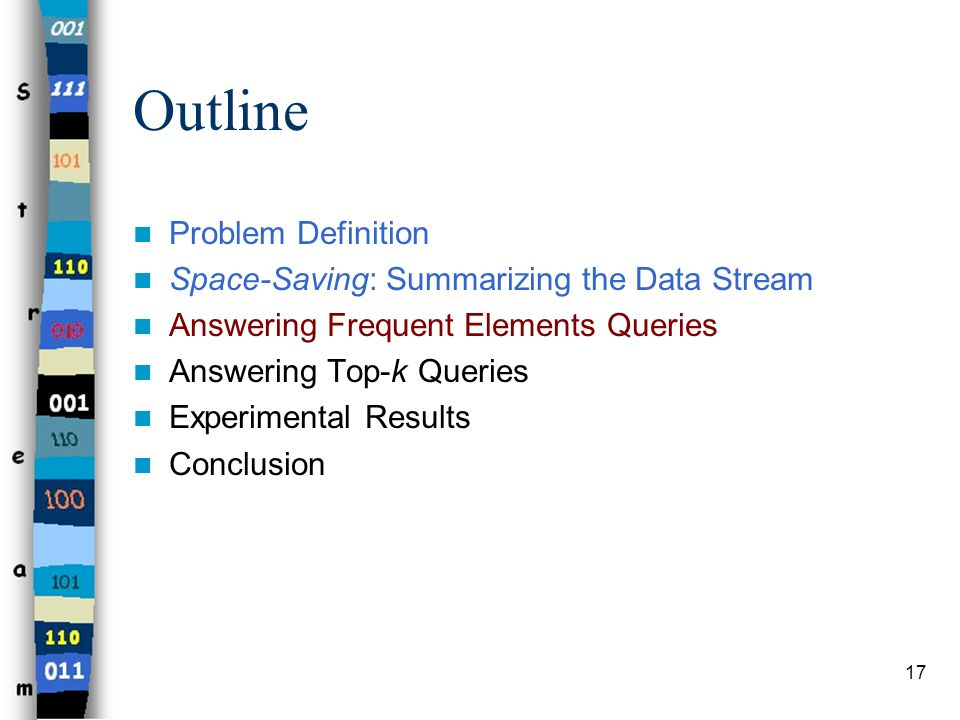 17 Outline Problem Definition Space-Saving: Summarizing the Data Stream Answering Frequent Elements Queries Answering Top-k Queries Experimental Resul