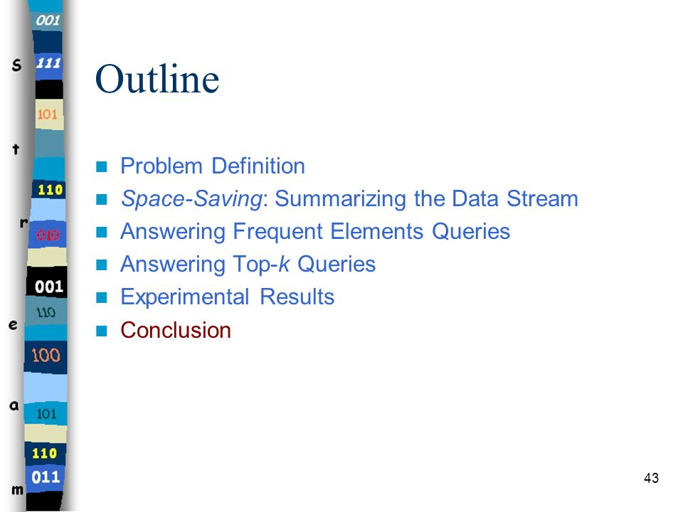 43 Outline Problem Definition Space-Saving: Summarizing the Data Stream Answering Frequent Elements Queries Answering Top-k Queries Experimental Resul