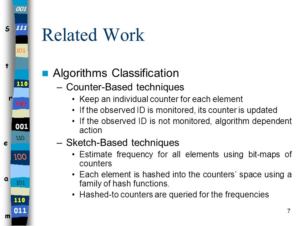 7 Related Work Algorithms Classification –Counter-Based techniques Keep an individual counter for each element If the observed ID is monitored, its co