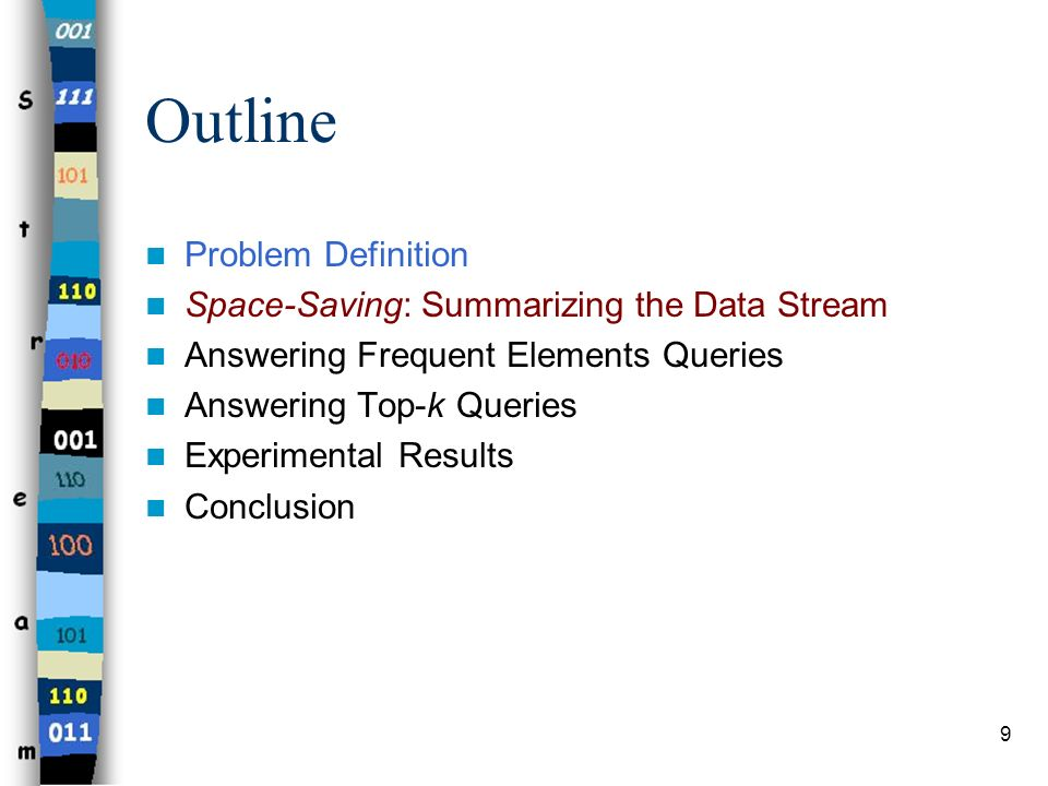 9 Outline Problem Definition Space-Saving: Summarizing the Data Stream Answering Frequent Elements Queries Answering Top-k Queries Experimental Result