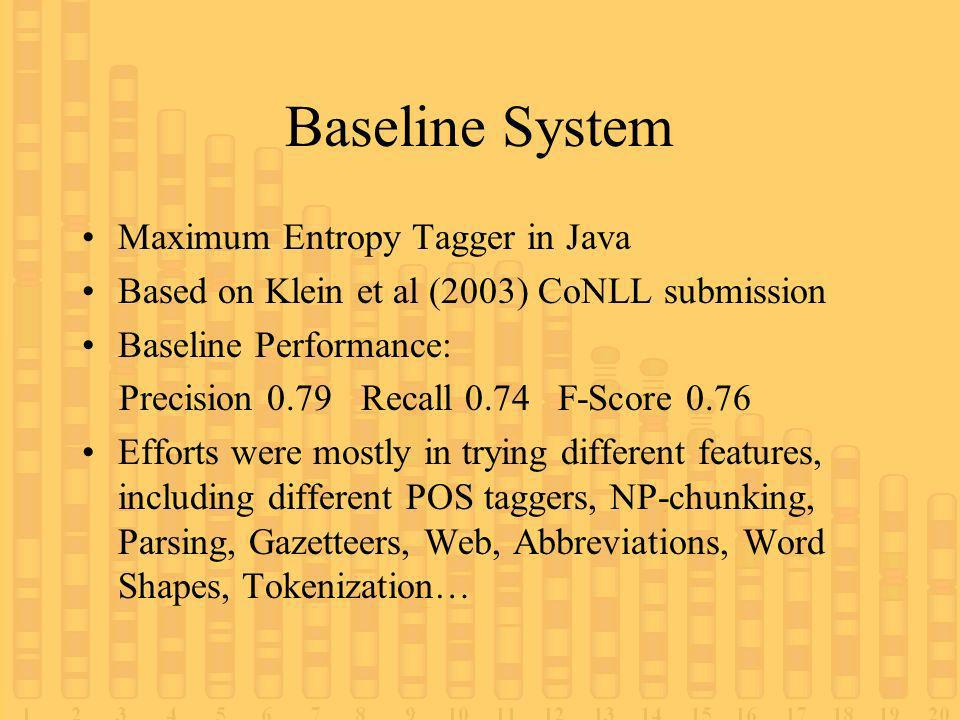 Baseline System Maximum Entropy Tagger in Java Based on Klein et al (2003) CoNLL submission Baseline Performance: Precision 0.79 Recall 0.74 F-Score 0.76 Efforts were mostly in trying different features, including different POS taggers, NP-chunking, Parsing, Gazetteers, Web, Abbreviations, Word Shapes, Tokenization…