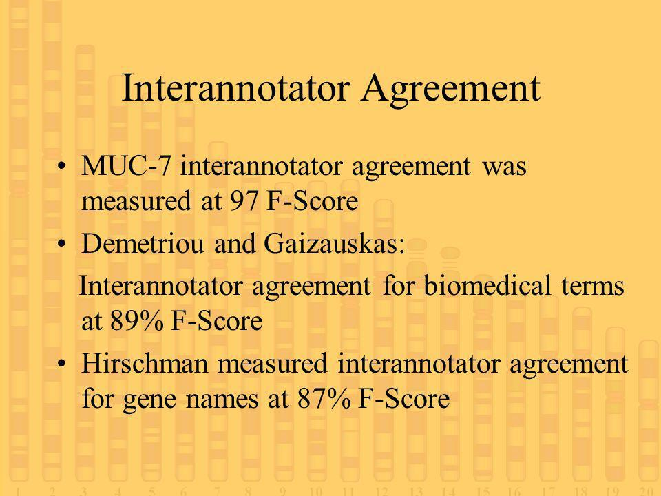 Interannotator Agreement MUC-7 interannotator agreement was measured at 97 F-Score Demetriou and Gaizauskas: Interannotator agreement for biomedical terms at 89% F-Score Hirschman measured interannotator agreement for gene names at 87% F-Score