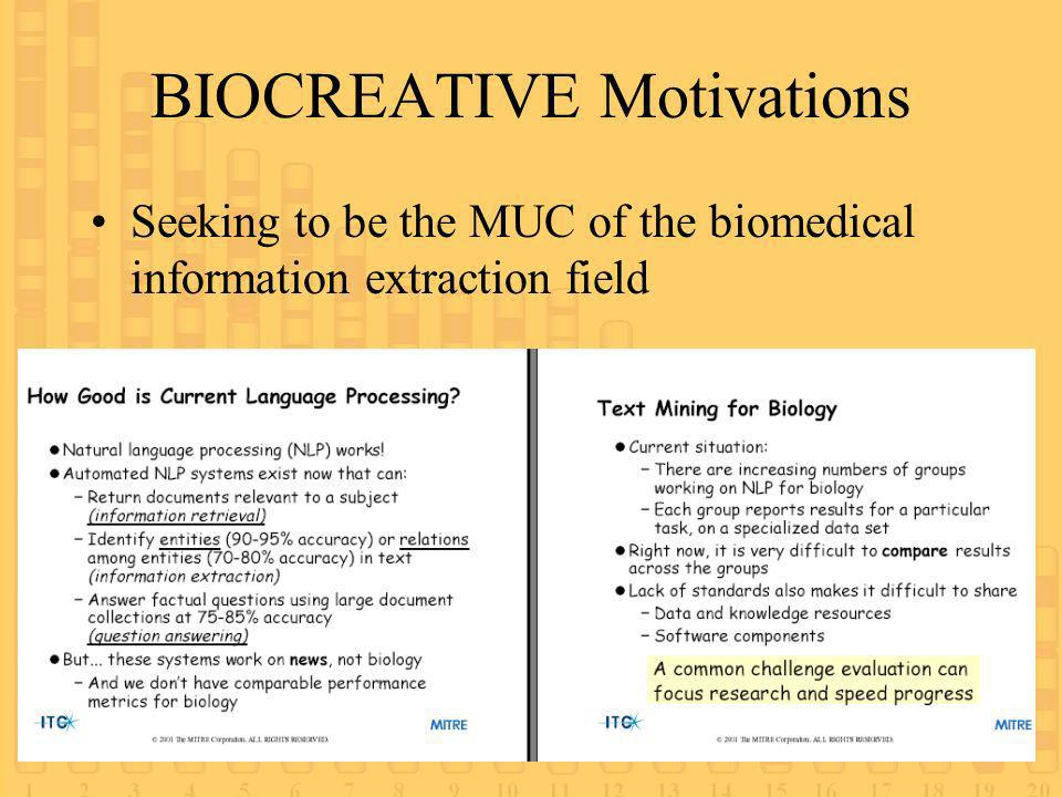 BIOCREATIVE Motivations Seeking to be the MUC of the biomedical information extraction field