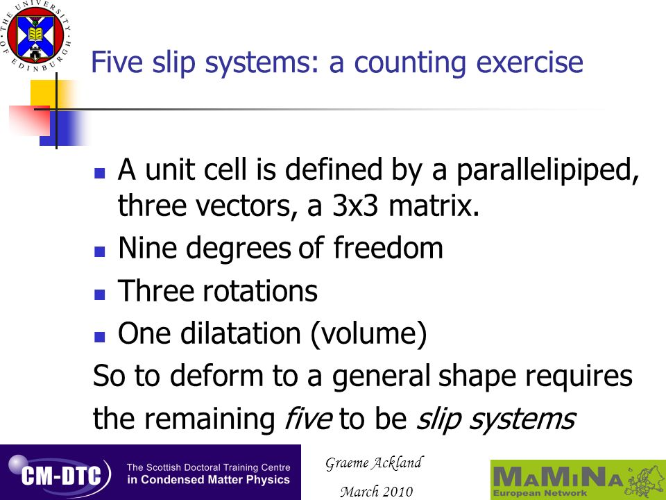 Graeme Ackland March 2010 Five slip systems: a counting exercise A unit cell is defined by a parallelipiped, three vectors, a 3x3 matrix. Nine degrees