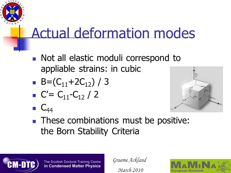 Graeme Ackland March 2010 Actual deformation modes Not all elastic moduli correspond to appliable strains: in cubic B=(C 11 +2C 12 ) / 3 C= C 11 -C 12