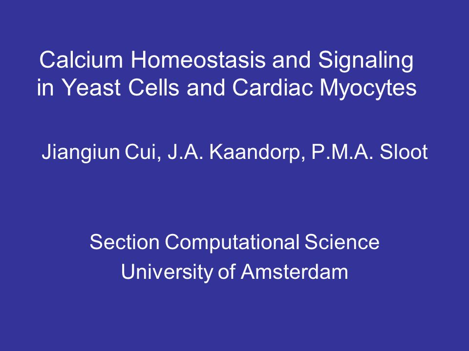 Calcium Homeostasis and Signaling in Yeast Cells and Cardiac Myocytes Jiangiun Cui, J.A.