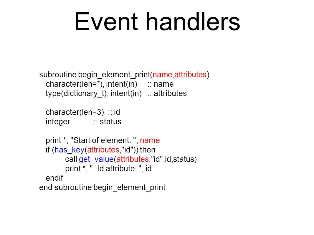 use flib_dom type(fnode), pointer :: myDoc, myNode type(fnodeList), pointer :: myList .