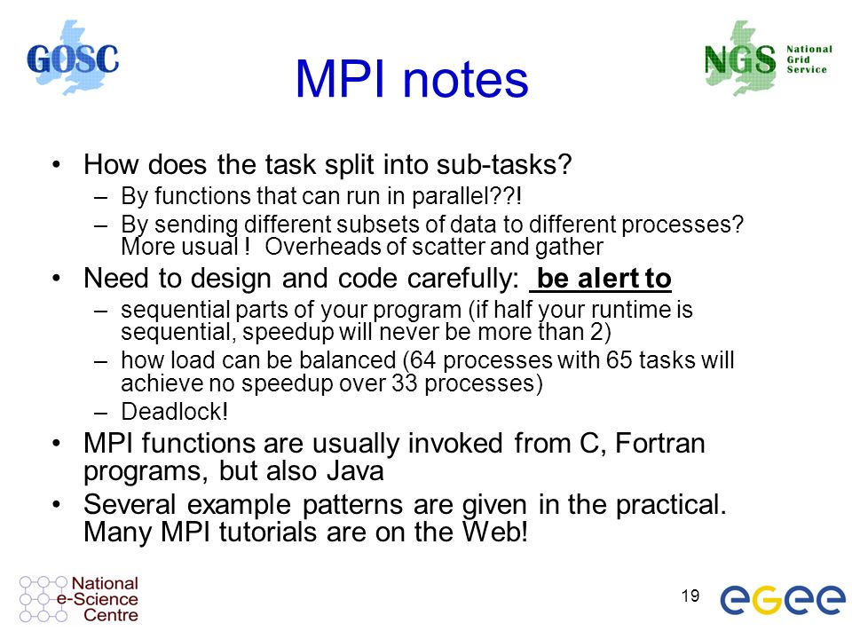 19 MPI notes How does the task split into sub-tasks.