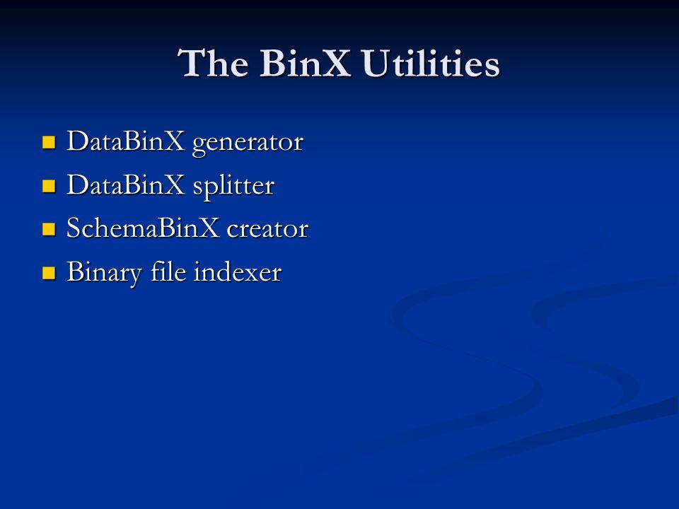 The BinX Utilities DataBinX generator DataBinX generator DataBinX splitter DataBinX splitter SchemaBinX creator SchemaBinX creator Binary file indexer Binary file indexer