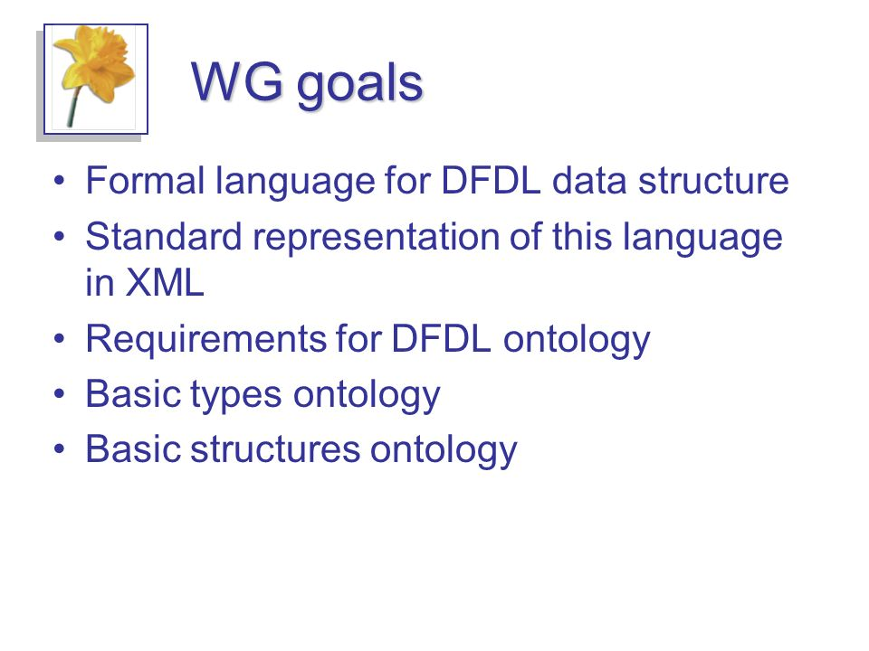 WG goals Formal language for DFDL data structure Standard representation of this language in XML Requirements for DFDL ontology Basic types ontology Basic structures ontology
