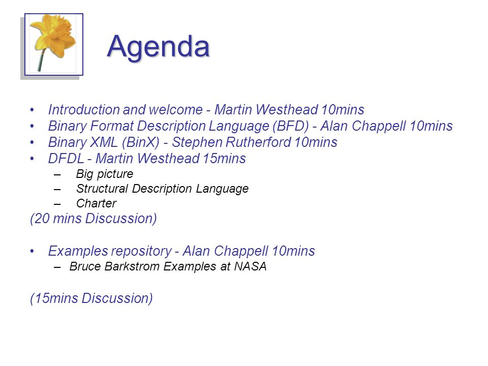 Agenda Introduction and welcome - Martin Westhead 10mins Binary Format Description Language (BFD) - Alan Chappell 10mins Binary XML (BinX) - Stephen Rutherford 10mins DFDL - Martin Westhead 15mins – Big picture – Structural Description Language – Charter (20 mins Discussion) Examples repository - Alan Chappell 10mins –Bruce Barkstrom Examples at NASA (15mins Discussion)