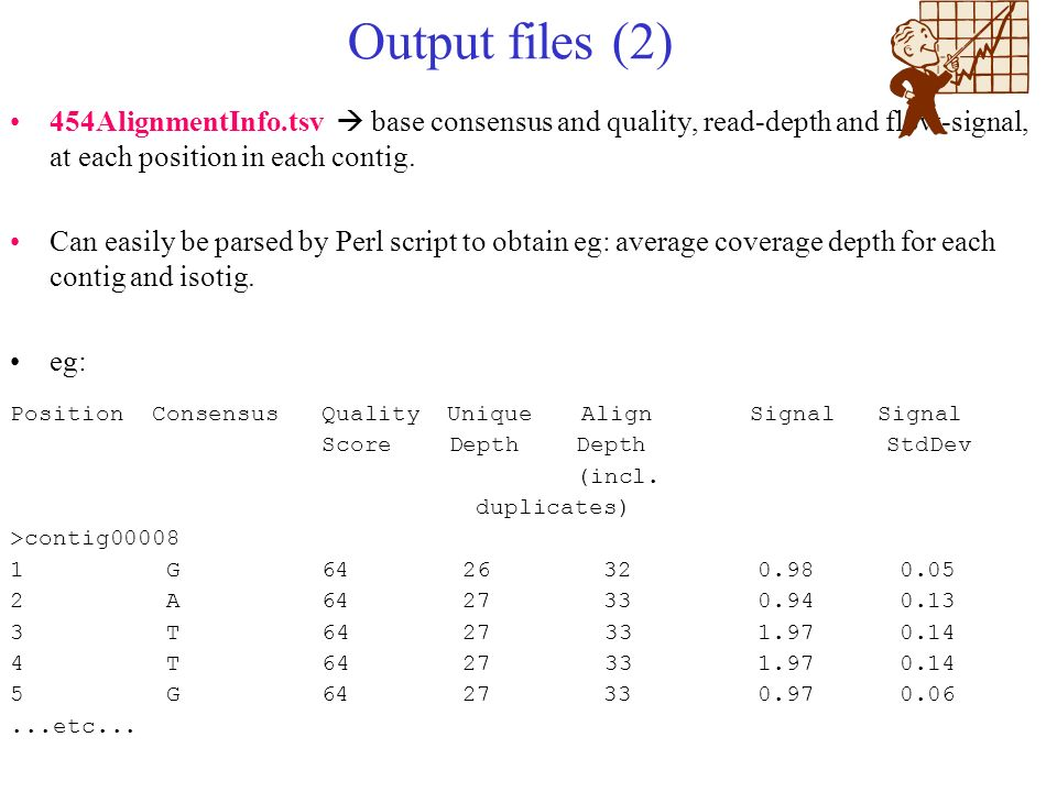 Output files (2) 454AlignmentInfo.tsv base consensus and quality, read-depth and flow-signal, at each position in each contig. Can easily be parsed by