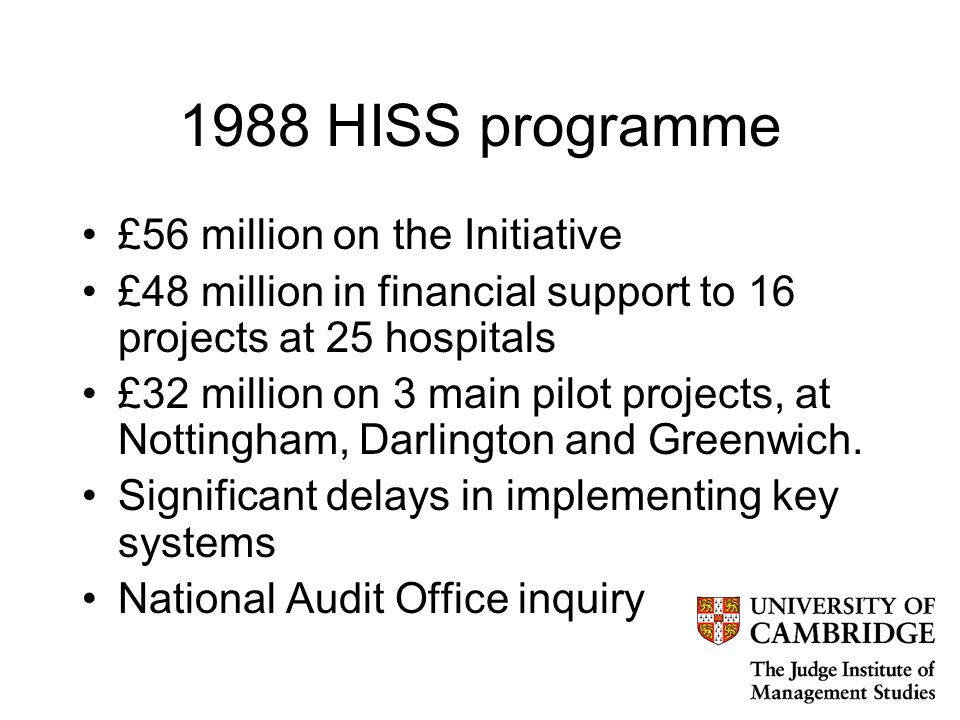 1988 HISS programme £56 million on the Initiative £48 million in financial support to 16 projects at 25 hospitals £32 million on 3 main pilot projects, at Nottingham, Darlington and Greenwich.