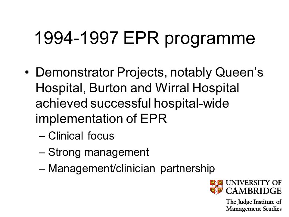 1998 Information for Health Lifelong electronic health records for every person in the country Round-the-clock on-line access to patient records and information about best clinical practice, for all NHS clinicians Genuinely seamless care for patients through GPs, hospitals and community services sharing information across the NHS information highway