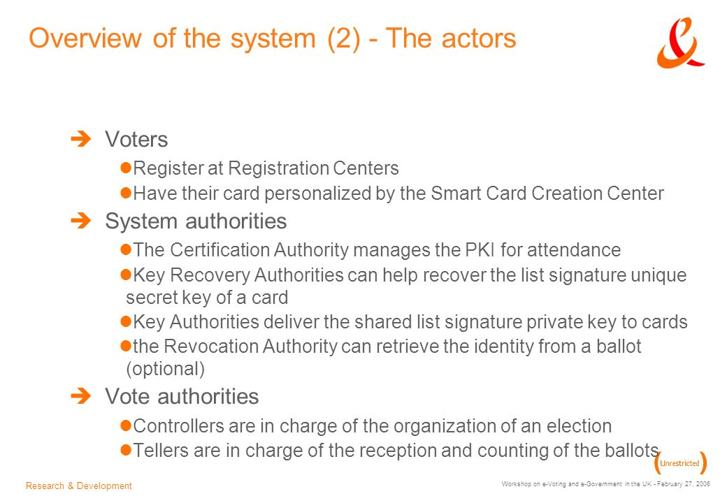 Research & Development Workshop on e-Voting and e-Government in the UK - February 27, 2006 Overview of the system (2) - The actors Voters Register at Registration Centers Have their card personalized by the Smart Card Creation Center System authorities The Certification Authority manages the PKI for attendance Key Recovery Authorities can help recover the list signature unique secret key of a card Key Authorities deliver the shared list signature private key to cards the Revocation Authority can retrieve the identity from a ballot (optional) Vote authorities Controllers are in charge of the organization of an election Tellers are in charge of the reception and counting of the ballots