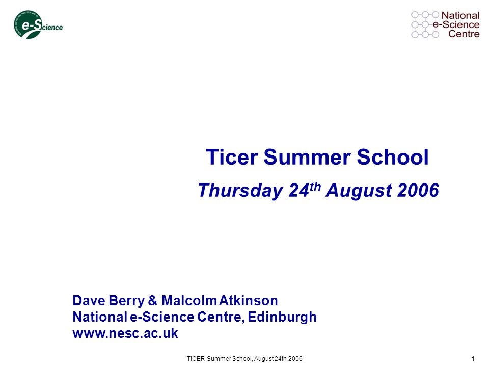 TICER Summer School, August 24th 200672 Globus Alliance CeSC (Cambridge) Digital Curation Centre e-Science Institute UK e-Science EGEE, ChinaGrid Grid Operations Support Centre National Centre for e-Social Science National Institute for Environmental e-Science Open Middleware Infrastructure Institute