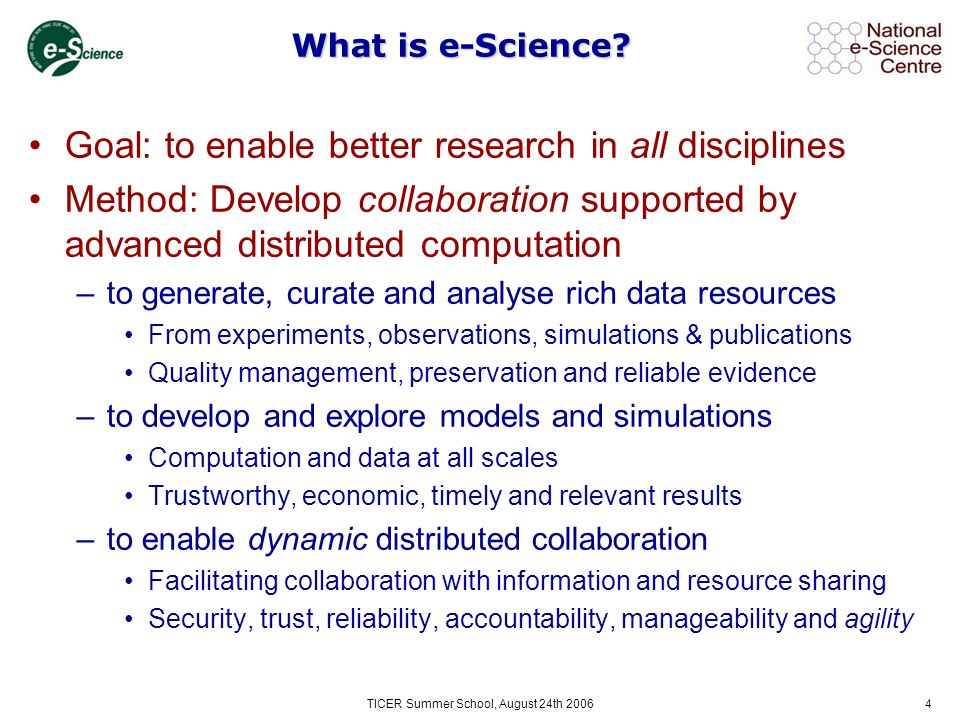4 What is e-Science.