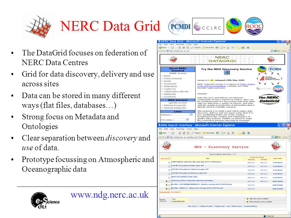 NERC Data Grid The DataGrid focuses on federation of NERC Data Centres Grid for data discovery, delivery and use across sites Data can be stored in many different ways (flat files, databases…) Strong focus on Metadata and Ontologies Clear separation between discovery and use of data.