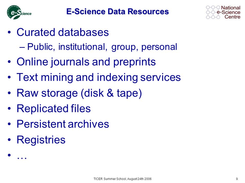 TICER Summer School, August 24th 20069 E-Science Data Resources Curated databases –Public, institutional, group, personal Online journals and preprints Text mining and indexing services Raw storage (disk & tape) Replicated files Persistent archives Registries …