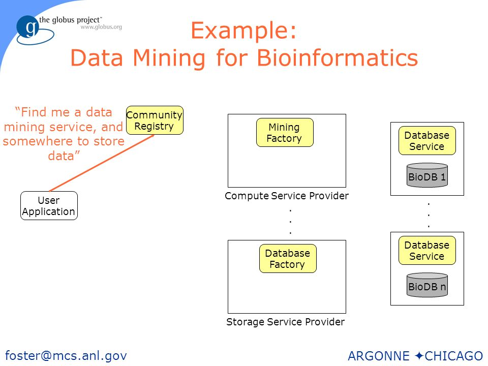 37 foster@mcs.anl.gov ARGONNE CHICAGO Example: Data Mining for Bioinformatics User Application BioDB n Storage Service Provider Mining Factory Community Registry Database Service BioDB 1 Database Service......
