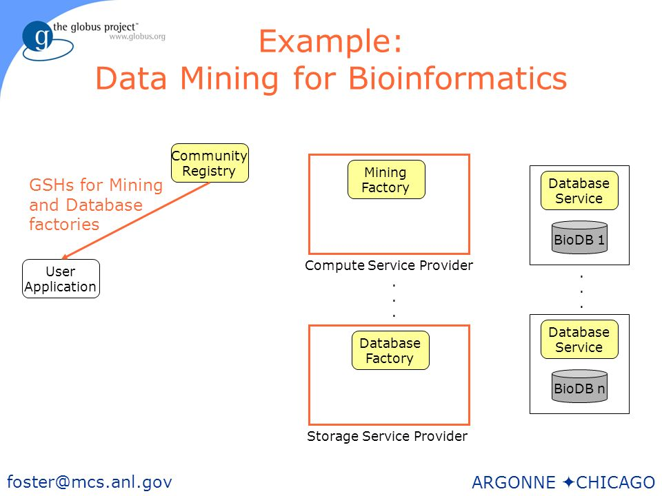 38 foster@mcs.anl.gov ARGONNE CHICAGO Example: Data Mining for Bioinformatics User Application BioDB n Storage Service Provider Mining Factory Community Registry Database Service BioDB 1 Database Service......