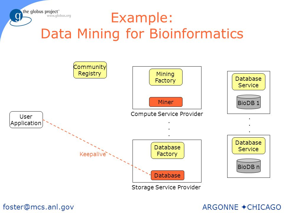 44 foster@mcs.anl.gov ARGONNE CHICAGO Example: Data Mining for Bioinformatics User Application BioDB n Storage Service Provider Database Factory Mining Factory Community Registry Database Service BioDB 1 Database Service......