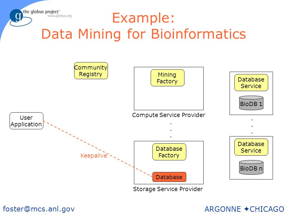 45 foster@mcs.anl.gov ARGONNE CHICAGO Example: Data Mining for Bioinformatics User Application BioDB n Storage Service Provider Database Factory Mining Factory Community Registry Database Service BioDB 1 Database Service......